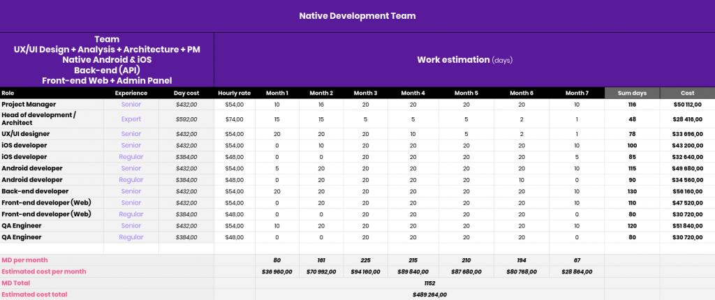 Native app development cost
